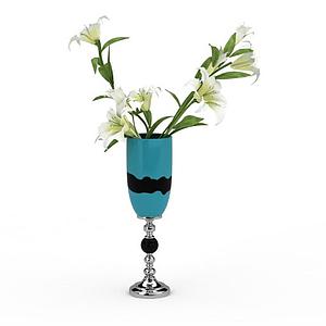 3d百合花瓶模型