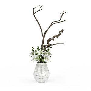 3d百合花瓶插花飾品模型
