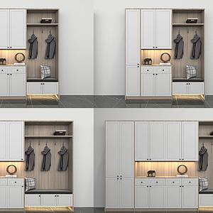 現代多功能鞋柜組合模型