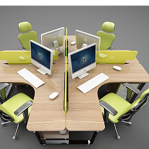 現代風格辦公桌椅模型