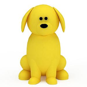 3d黃色玩具小狗模型