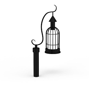歐式黑色庭院燈路燈模型