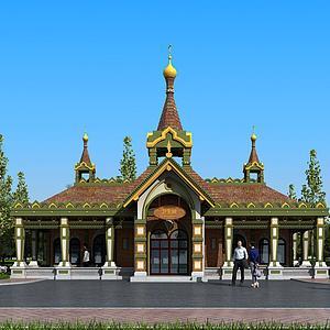 歐式戶外公共廁所建筑模型