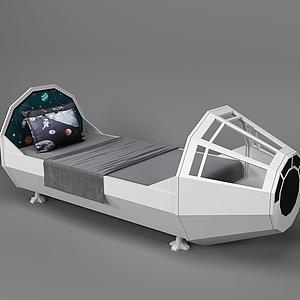 現代兒童床太空船床模型
