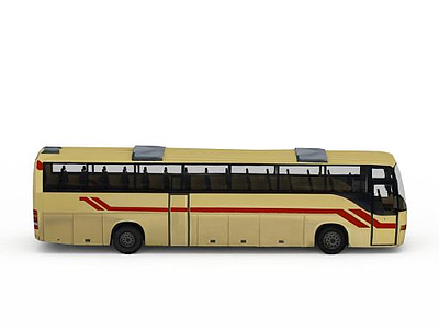 3d黃色大巴車免費模型