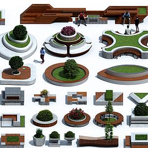 現代戶外異形樹池花壇模型