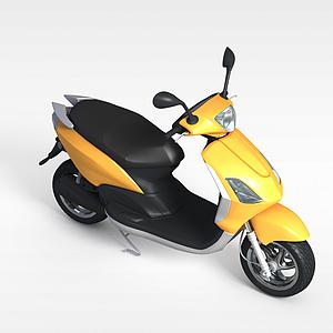 黃色電動摩托車模型