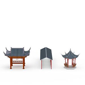 3d中式六角亭四角亭長廊模型