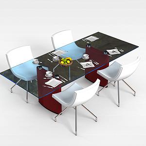 現代桌椅組合模型