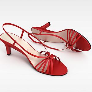 女士紅色高跟涼鞋模型