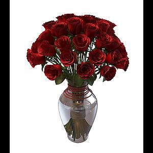 玫瑰花瓶模型