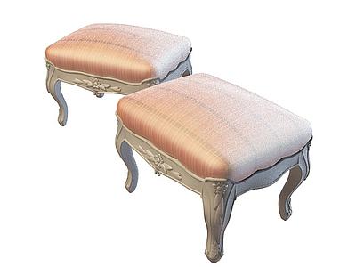 皮面沙發凳模型