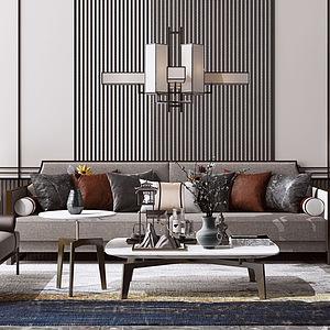 新中式沙發組合模型