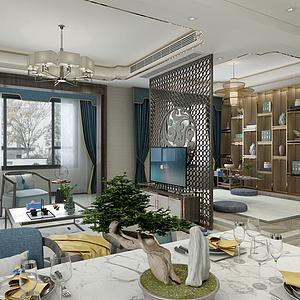 新中式客廳餐廳模型