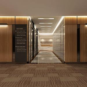 3d現代公司走廊<font class='myIsRed'>前臺</font>模型