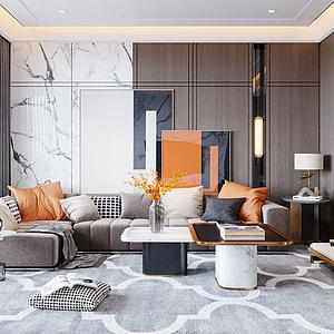 现代轻奢风格客厅模型