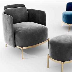 現代絨布沙發椅模型