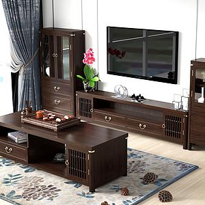 新中式電視柜組合模型