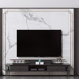 新中式電視背景墻模型