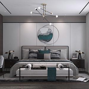 現代簡約風格主臥室模型