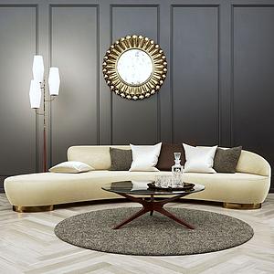 软装弧形沙发模型