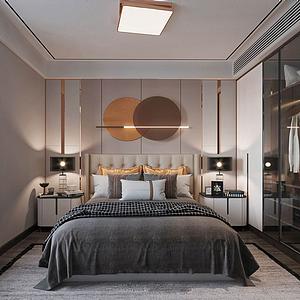 現代輕奢風格主臥室模型