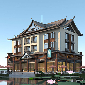 傣式商住樓模型