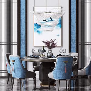 新中式圓形餐桌椅模型