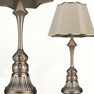 3d歐式復古玫瑰金臺燈模型