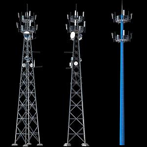 現代聯通4G基站信號發射塔模型