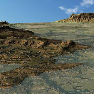 被淹沒的丘陵山地模型