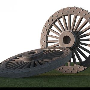 古代馬車車輪模型