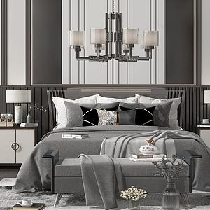 新中式床模型