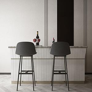 家具飾品吧臺組合模型