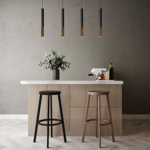 家具飾品組合吧臺模型
