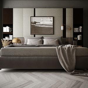 家具飾品組合雙人床模型