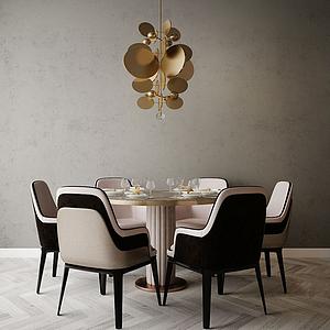 現代餐桌椅模型