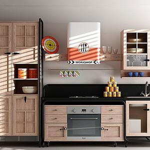 現代櫥柜廚具柜門模型