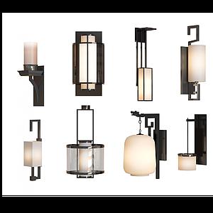 新中式壁燈模型