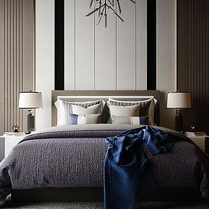 臥室雙人床模型