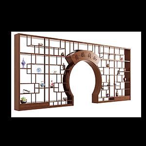 現代中式月亮門博古架模型