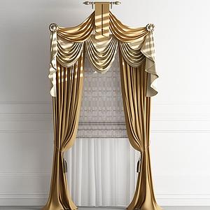 歐式法式窗簾羅馬簾模型