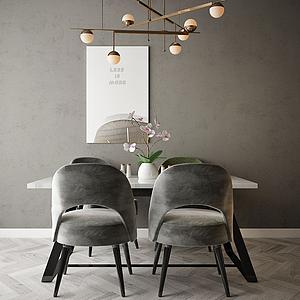 家具飾品組合餐桌模型