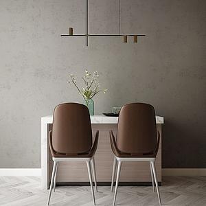 家具飾品組合吧臺餐廳模型