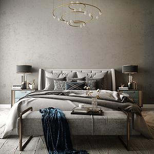 現代臥室床模型