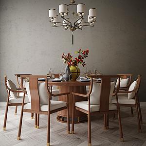 家具飾品餐桌組合模型