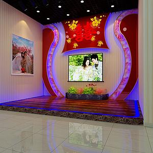宴會廳舞臺背景效果2模型