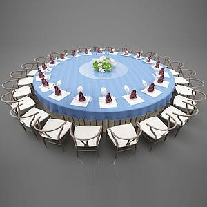中式餐桌模型