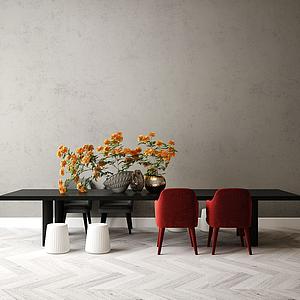現代桌椅模型