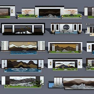 新中式擬山石景觀背景墻模型